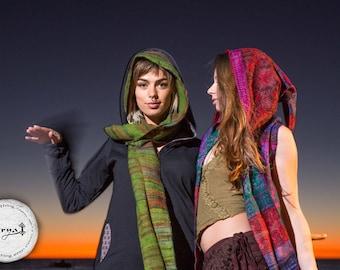 Hoodie Scarf - Gypsy Wool Kashmiri Hoddie Scarf Bohemian Hippie Style Tribal Stylish Warm Scarf