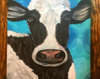 Black and White Cow- Black and White Art- Cow Painting- Farmhouse Decor- Farm Art- Farm Painting- Farm Animal Painting- Farmhouse Wall Art