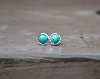 Turquoise Silver Stud Earrings // Post Earrings // Bohemian Earrings // Wire Wrapped Studs // Turquoise Studs // Gift For Her