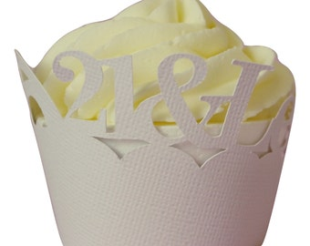 White 21-&-Legalized Cupcake Wrappers, Set of 12, Birthday, White Texture, Cupcake Decor, Handcrafted Party Decor, Party Supplies
