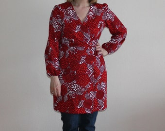 Heart Print Dress Vintage Tunic Red Wrap Dress  Long Sleeve Blouse Colorful Tunic Long Sleeve Mini Dress Large Size