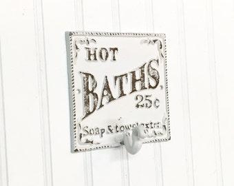 Shabby Chic Bath Hook/ Bathroom Hook/ Towel Hook/ Hand Towel/Metal Hook/SSLID0179/Vintage/ Vintage Sign/Wall Hook/ Single Hook/Farmhouse