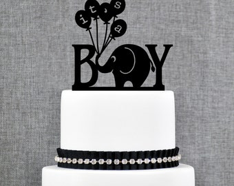 It's A Boy Cake Topper, Baby Cake Topper, Gender Reveal Cake Topper, Baby Shower Cake Topper, Elephant Topper, Cute Cake topper (T057)