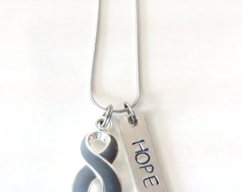 Grey Customizable Awareness Ribbon Stainless Steel Charm Necklace with Optional Add On Charms