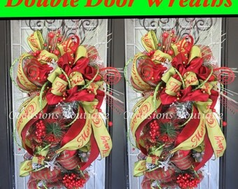 Double Door Christmas Wreaths, Christmas Door Swag, Christmas Wreath, Holiday Wreath, Christmas Decoration, Front door Wreath