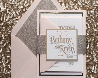 Blush & Gold Glitter Wedding Invitation, Gold Glitter Wedding Invite, Blush Invitation - Deposit to Get Started