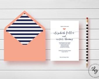 Calligraphy Script Wedding Invitation, Printable Wedding Invitation Template-Wedding Invites-Wedding Invitation Suite, Coral , Navy