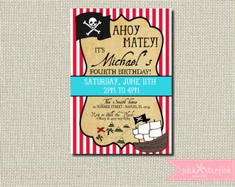 Pirate Invitation, Pirate Birthday Party, Pirate Party, Vintage Pirate, Treasure Map, Digital, Printable, Pirate Party, Pirates, Pirate Ship