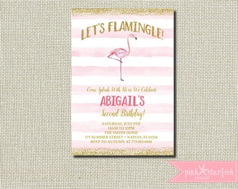 Flamingo Birthday Invitation, Flamingo Invitation, Pool Party Invitation, Watercolor Invitation, Pink Flamingo, Glitter, Gold Glitter, Glam