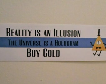 "Gravity Falls Bill Cipher ""Buy Gold"" Bumper Sticker"