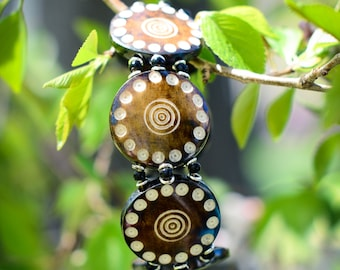 Geometric Print Brown Beaded Bracelet From Kenya