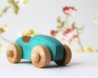 Wooden car, wooden toy, little turquoise car