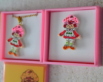 NOS Vtg Strawberry Shortcake Jewelry Your Choice Pendant Necklace or Pin Or Get the Whole Set Kawaii Jewelry 1980s 80s Cartoon Girls Toys
