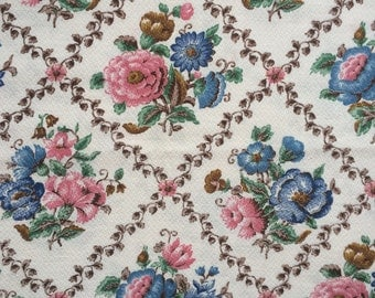 Vintage Barkcloth Fabric- Pink and Blue Floral