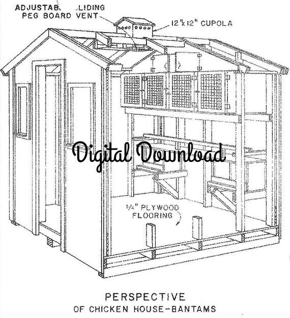 Chicken pigeon coop blueprint includes nest boxes 8x8 for 8x8 house plans