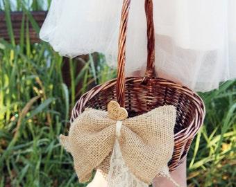 Rustic Flower Girl Basket, Rustic Flower Basket, Flower Girl Basket, Personalized Heart Basket, Rustic Chic Wedding Basket, Cottage Wedding