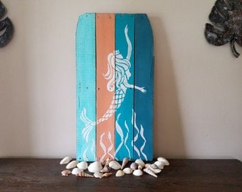 Mermaid | reclaimed wood wall art | reclaimed wood decor | beach house decor | nautical wall art | coastal decor | rustic wood wall art