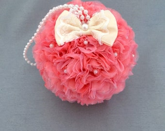 """Flower Ball Coral Rose Kissing Ball 5"""" Pomander Choose Ivory or White Bow Flower Girl Bridesmaid Bouquet Free Hair Pin Wedding Flowers"""