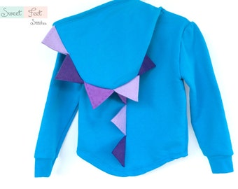Girls XS (4-5) Blue Dinosaur Hoodie with Purple Spikes