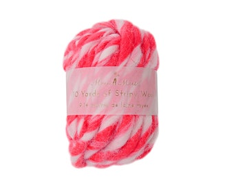 Neon Pink and White  Stripy Wool - 10 yards