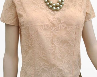 Vintage 50s/60s Cream Lace Short Sleeve Blouse by Sybille Claymar