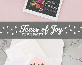Tears of Joy Wedding Tissues - Unique Tissue Wedding Favors - Personalized Wedding Ceremony Tissue Packets  (EB2096MP) - set of 12|
