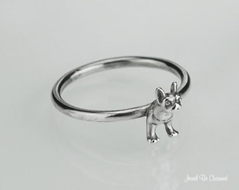 Boston Terrier or French Bulldog Ring Sterling Silver Dog Custom Sizes