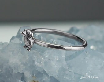 Dachshund Ring Solid .925 Sterling Silver Doxie Rings Dog Custom Sizes