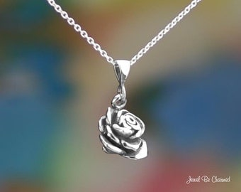 """Sterling Silver 3D Rose Necklace 16-24"""" Chain or Pendant Only .925"""