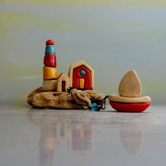 Lighthouse Natural Stone : Fantasy home decor miniature sculpture little lighthouse