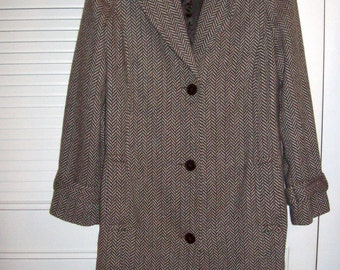Vintage  Wool Herringbone Three-Quarter Belted Wonderful Winter Coat  Size 10