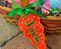 Easter Basket Name Tag Personalized, Embroidered, Appliqué