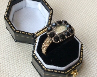 1860's Gold Memorial Ring with Glazed Panel and Plaited Hair