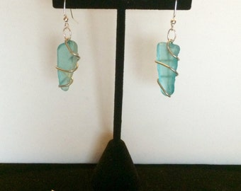 Wire-Wrapped Sea Glass Earrings