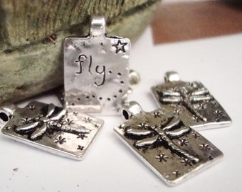 Dragonfly Charms,4 pcs,Fly word ,tag charms,Magical Charms,Jewelry Charm,Bug Charms,Words Charms