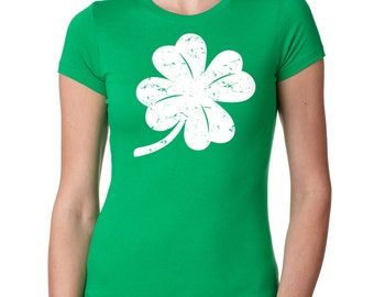 Clover Shamrock Ladies Top Saint Patrick's Day Tee Shirt