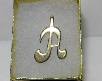 Vintage Initial Pendant Gold Monogram Pendant Letter A Initial Jewelry Letter Pendant Monogram Jewlery Letter Jewelry Simple Gold Jewerly