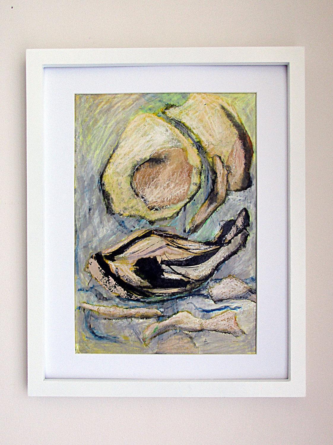 Modern Art Original Drawing Oil Pastels Ink Abstract