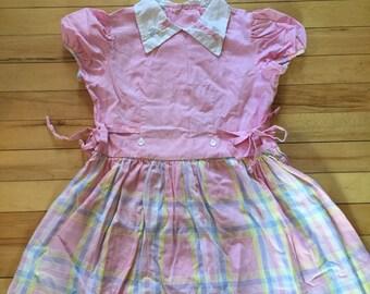 Vintage Girl's 1950's Pastel Pink Plaid Summer Dress! Size 4-5