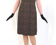 Vintage 1960's 60's Bronze Brown Mod Mini Shift  Short Sleeve Cut Out Lace Effect Dress Size 14 - 16 Medium