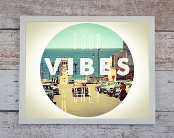 Good Vibes Only Poster Print // Boho Decor - Bohemian Print // California Wall Art - Dorm Decor - Home Decor // Inspirational Wall Art