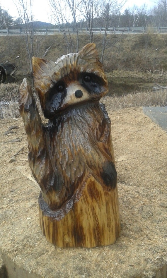 Raccoon wood carving chainsaw rustic art by