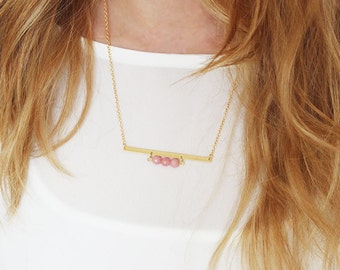 Gold Bar Necklace, Gold Minimalist Bar Necklace, gold Bar Stones Necklace, Gold Plated Stone Bib Necklace.
