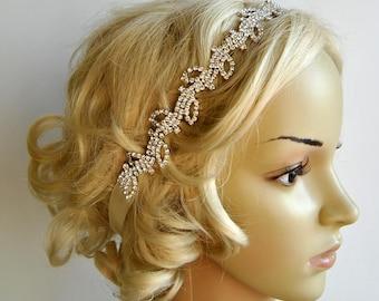 Rhinestone Headband, Bridal Wedding Headband, Crystal Headband, Wedding Halo Bridal tie on ribbon Headband Headpiece, 1920s Flapper headband