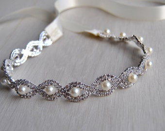 Pearls Rhinestone Bridal Great Gatsby Crystal Headband Wedding Halo Bridal tie on ribbon Bridesmaid Headpiece, 1920s Flapper headband