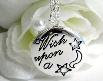 Personalized April Birthstone Locket, Engraved Locket, Wish Upon A Star Locket, Personalized Locket Necklace, April Birthday Gift