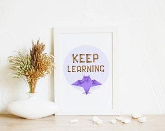 Nursery Art, Keep learning | Digital Print, Digital download, Geometric art, Owl art, Home Nursery Decor, Office art, Purple art, Kids room