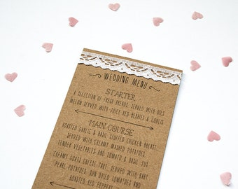 Rustic Kraft, Lace and Pearl Wedding Menu - Recycled kraft finished with Lace and Pearl Detailing