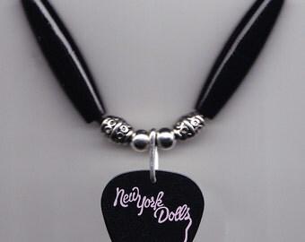 New York Dolls Jason Sutter Signature Black Guitar Pick Necklace - 2011 Tour NY