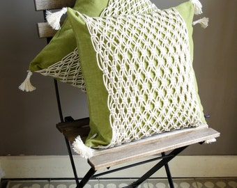 Green hippie style macramé cushion